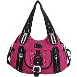 Angelkiss 2 Top Zippers Multi Pockets Handbags Nylon Fabric Purses Shoulder Bags Women AK15130