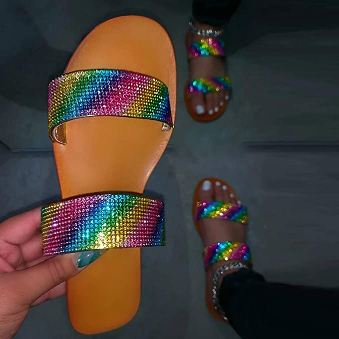 POLLYANNA KEONG Cute Sandals for Women,Crystal Comfy Platform Sandal Summer Beach Travel Shoes Flip Flops