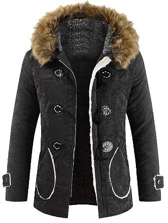 b5804a5e8ba0 Jotebriyo Men Faux Fur Hooded Horns Buckle Winter Fleece Lined Parka Coat  Jacket Outwear at Amazon Men's Clothing store: