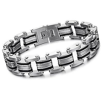 Herren Edelstahl Gummi Motorrad Biker Chain Link Armband Bracelet Schwarz