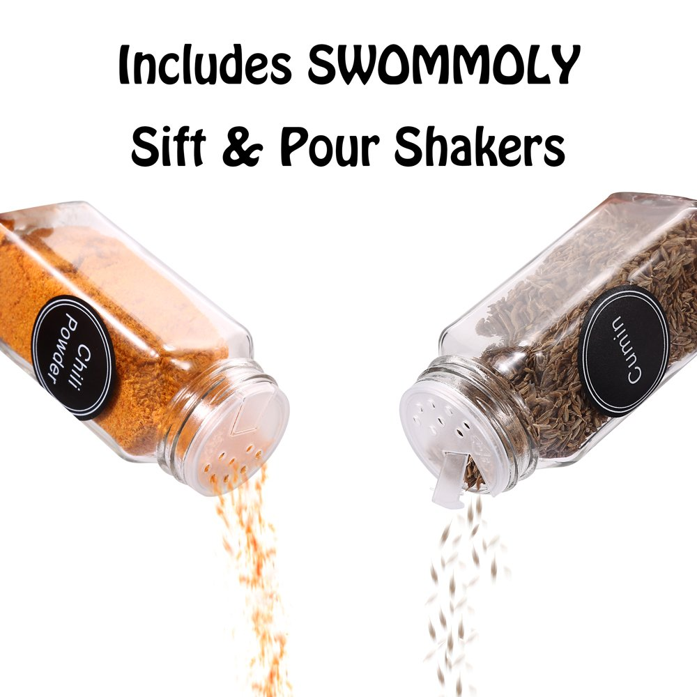 36 Glass Spice Jars with 360 Spice Jar Labels and Funnel Complete Set by SWOMOLY. 36 Square Glass Jars 4OZ, Airtight Cap, Pour/sift Shaker Lid by SWOMMOLY (Image #4)
