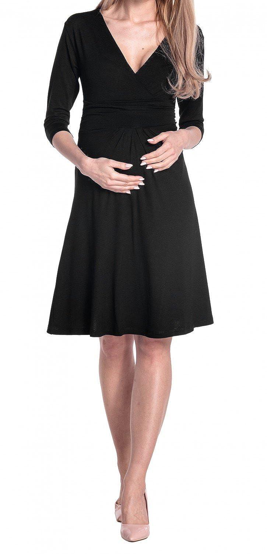 Happy Mama Damen Umstandskleid Festlicher Stretchkleid V-Ausschnitt 282p