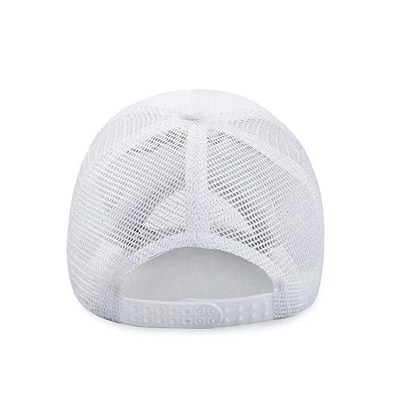 Rovinci Mujer Hombres Carta de impresión Sólido Unisexo Gorra de Beisbol Malla Snapback Hip Hop Sombrero Plano (Blanco): Amazon.es: Ropa y accesorios