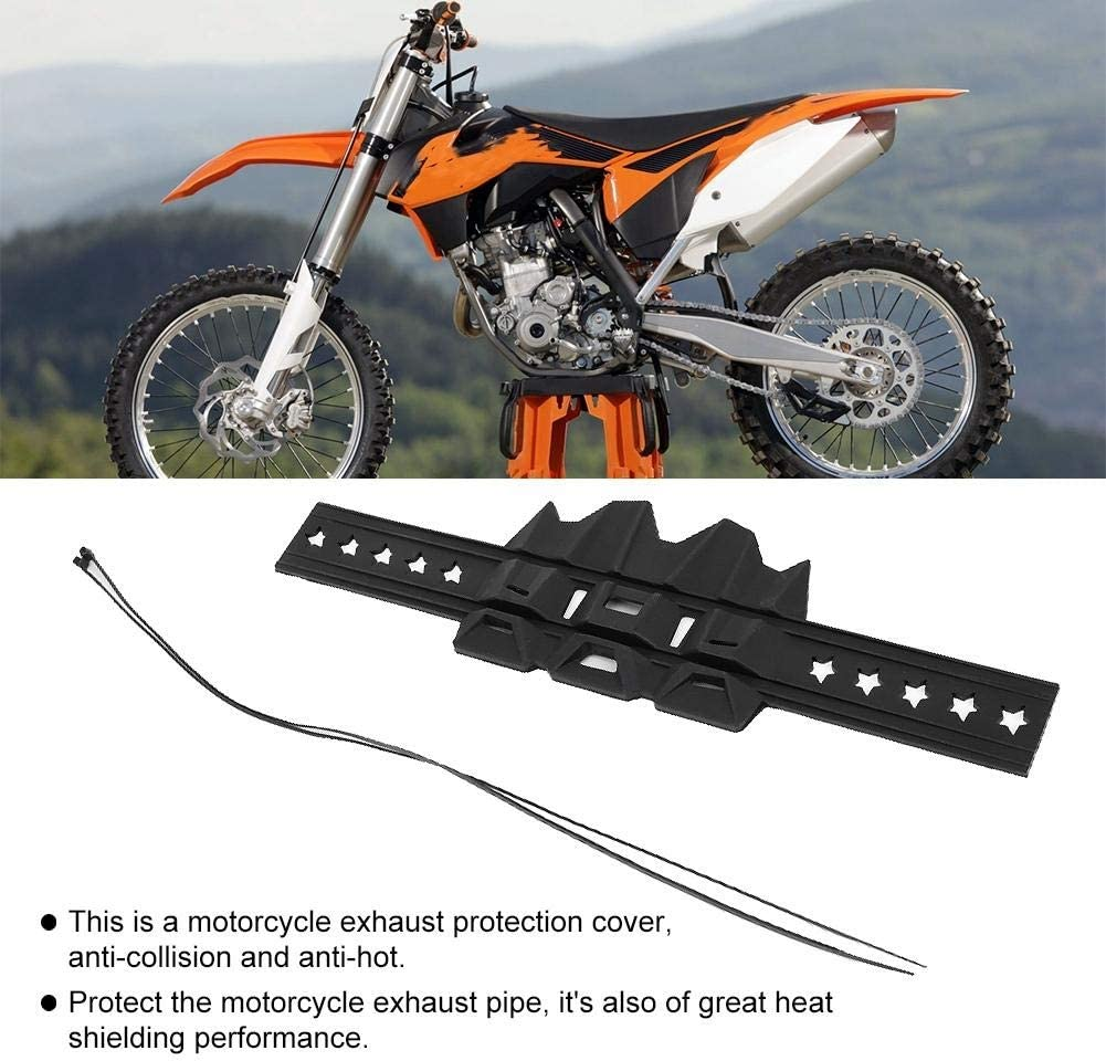 Universal Silicone Motorcycle Exhaust Heat Shield Pipe Protector Cover Guard Black Exhaust Protector