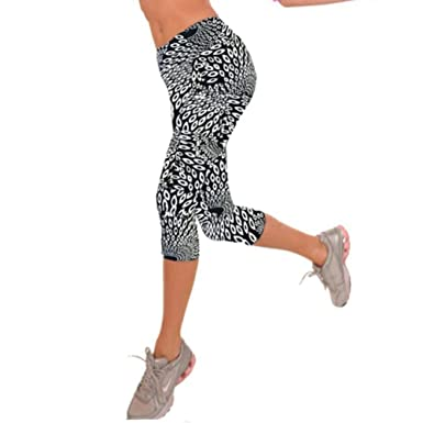 ae2c2c4170e28f LHWY Women Yoga Pants Colourful Gym Leggings Patterned High Waist Fitness  Printed Cropped 3/4