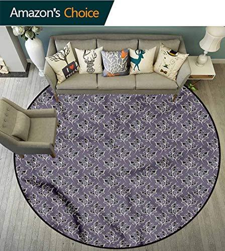 RUGSMAT Victorian Computer Chair Floor Mat,Autumn Garden Motifs Coffee Table Mat Non-Skid Living Room Carpet Round-47