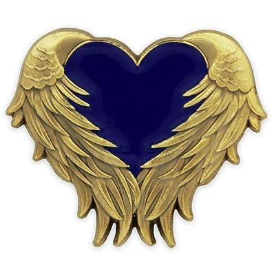 cba6d238245 Amazon.com: PinMart Blue Heart with Antique Gold Angel Wings Enamel Lapel  Pin: Jewelry