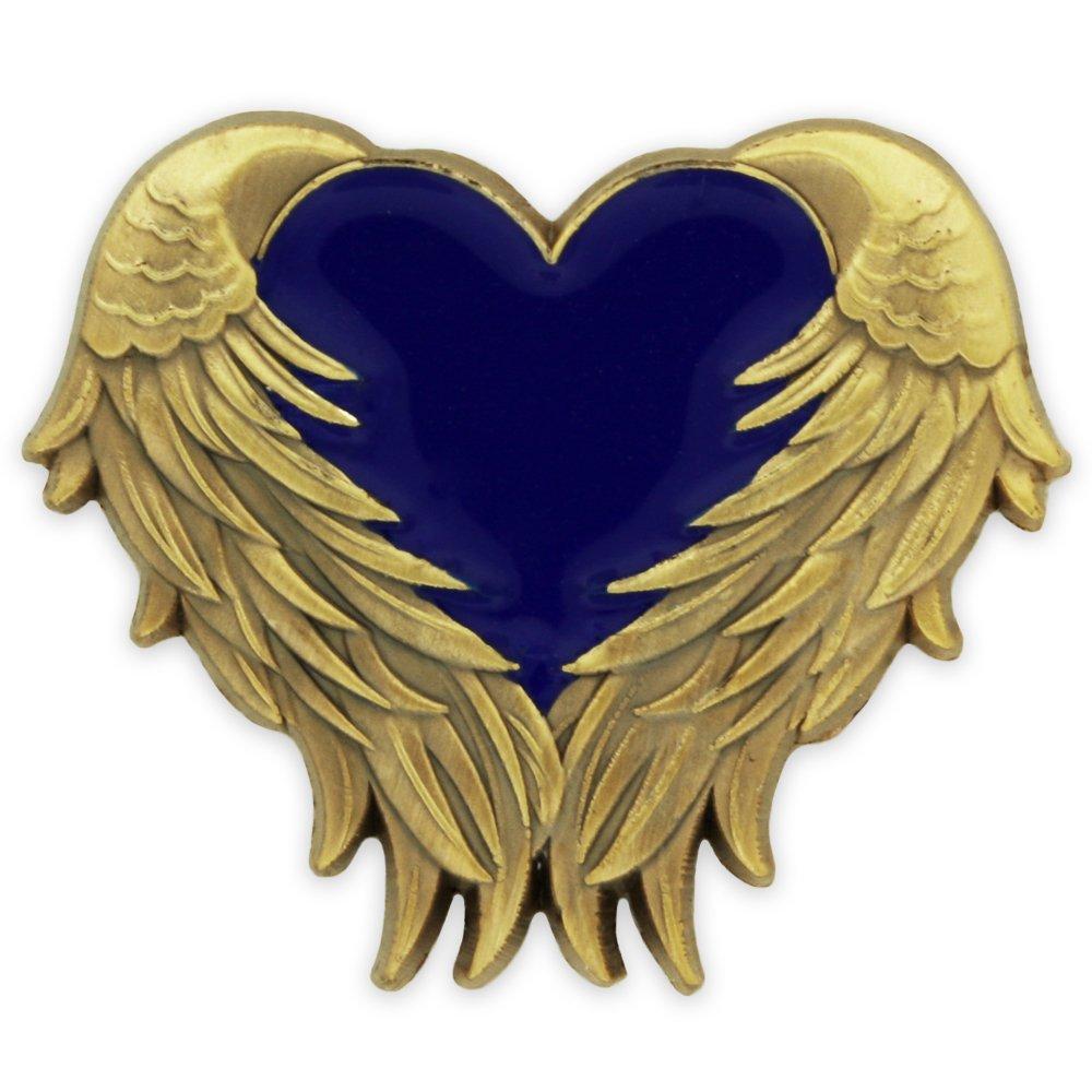 PinMart's Blue Heart with Antique Gold Angel Wings Enamel Lapel Pin