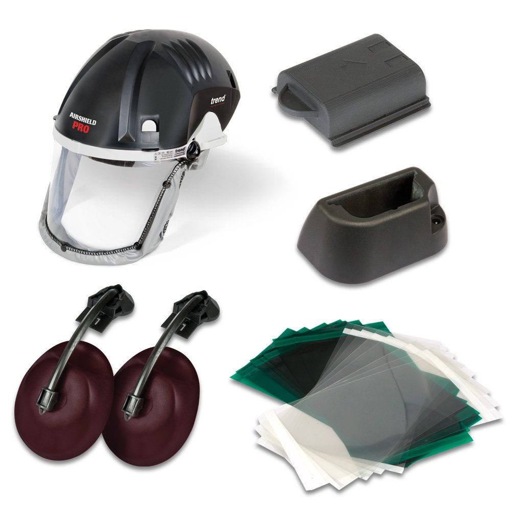 Trend DEAL/Q4/J Airshield Pro with Free Battery Cradle,  Ear Defenders, 8 Hour Battery and 10-Pack of Clear Replacement Visor Overlays