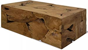 INLIFE Rustic Coffee Table Genuine Teak Wood Sofa and Couch End Side Table Handmade Living Room Home Furniture Brown 35.4x19.6x13.7Inches (LxWxH)