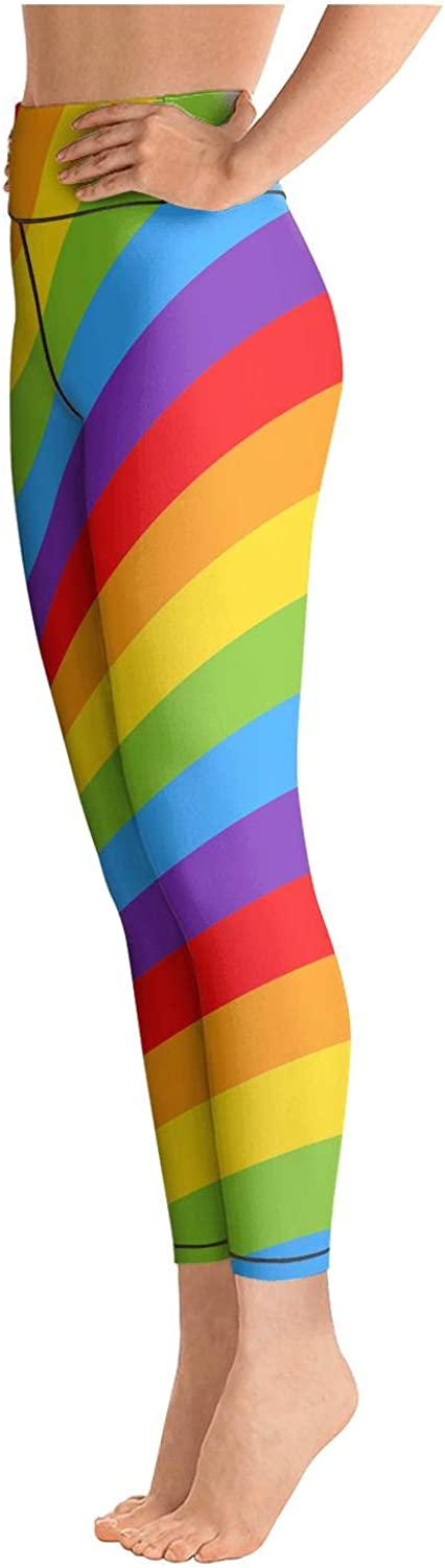 Long Yoga Pants for Womens Printed Yoga Gay Rainbow LGBT Colors Striped Fit Pockets Tights for Girls