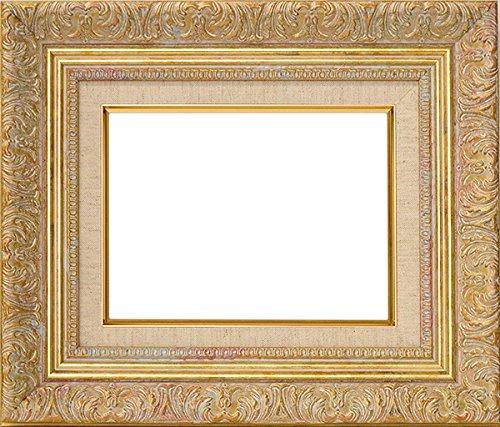 油絵用額縁 8209/ホワイトゴールド SM(227×158mm)  ガラス (ライナー色:G/麻)【dras-29】 B01AJ873Z2G/麻