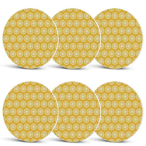 Yellow and White Unique Coasters,Monochrome Ornament Pattern Abstract Dandelion Blossoms Shabby Colors Decorative for Coffee Shop & BarSet of -
