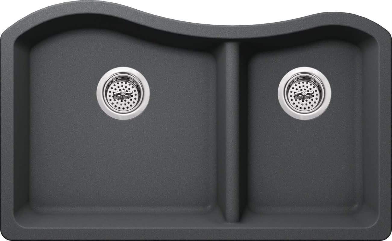 Build Essentials MGR33206040-GR Build Essentials BEGR33206040 32-1 2 Double Basin Undermount Granite Composite