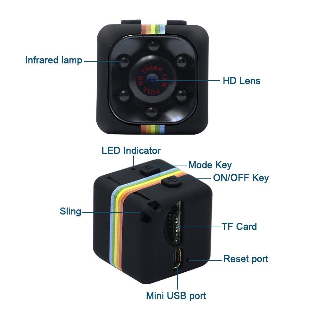 Cámara Espía, HD 1080P UYIKOO Mini Cam Surveillance Cámara con visión nocturna y detección de movimiento para Home/Office Indoor/Outdoor Security Cámara: ...
