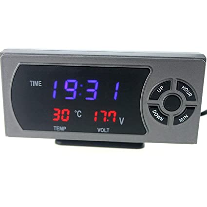 XDLUK Multifuncional LED Coche Digital Reloj De Temperatura Medidor De Voltaje Medidor De Tensión Electrónica Automotriz