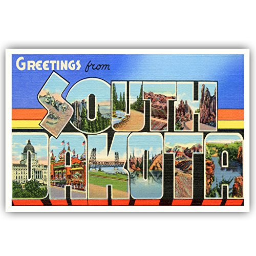 GREETINGS FROM SOUTH DAKOTA vintage reprint postcard set of 20 identical postcards. Large letter US state name post card pack (ca. 1930's-1940's). Made in USA.
