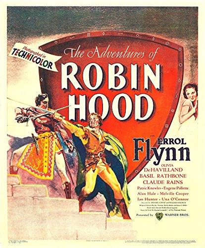 Posterazzi The Adventures of Robin Hood Front Left: Errol Flynn Top Right: Olivia De Havilland On Window Card 1938 Movie Masterprint Poster Print (11 x 17) - Havilland De Collection