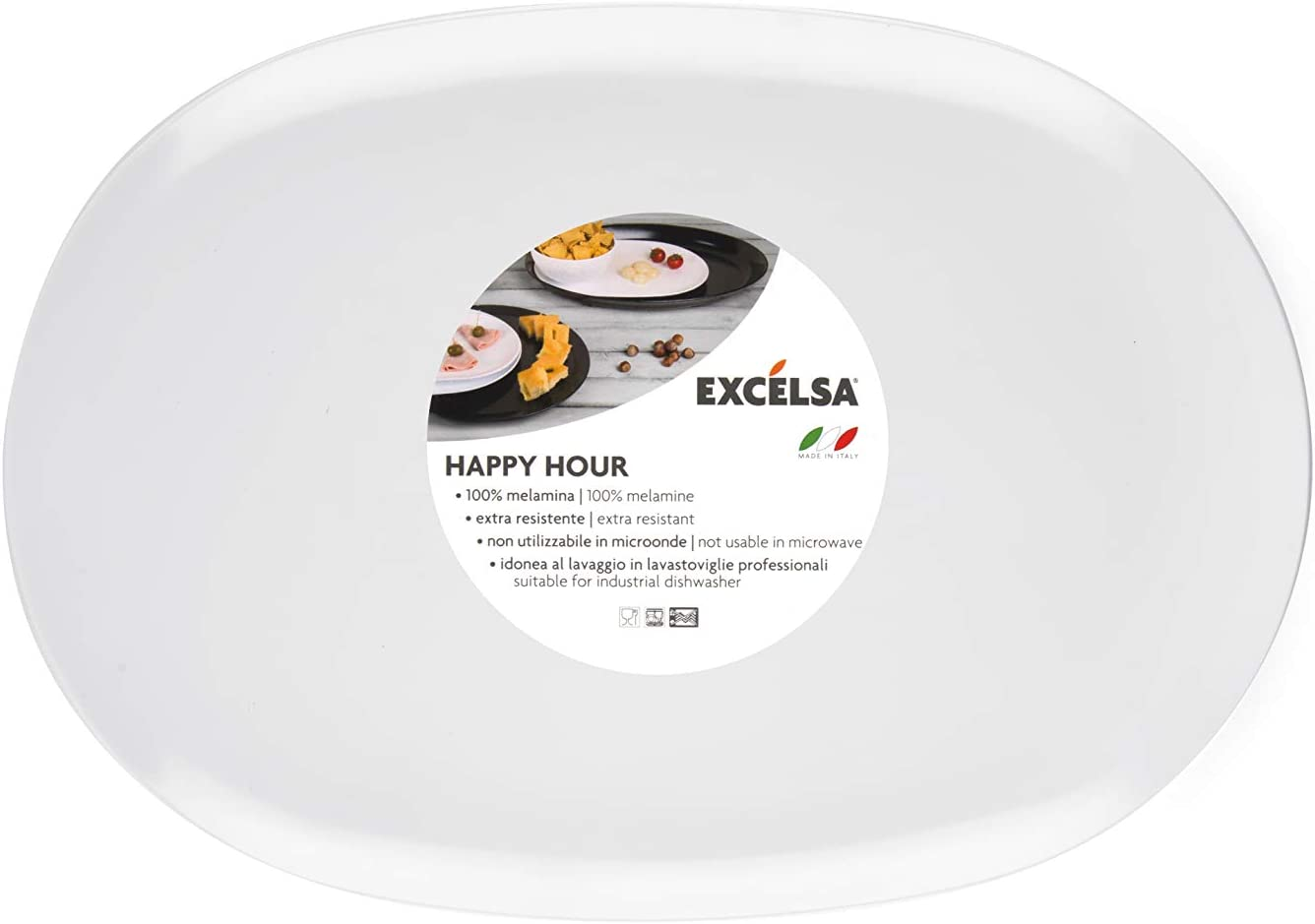 Melamina Excelsa Happy Hour Vassoio da Portata Rettangolare 30 x 20 x H 2 cm