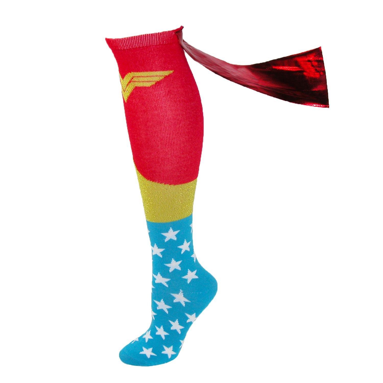 BioWorld Wonder Woman Knee High Shiny Red Caped Socks KH101WDCO
