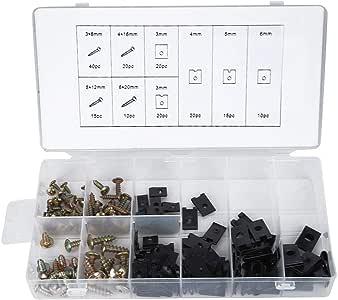 170Pcs, kit de surtido de tornillos de clip en U y accesorios con ...