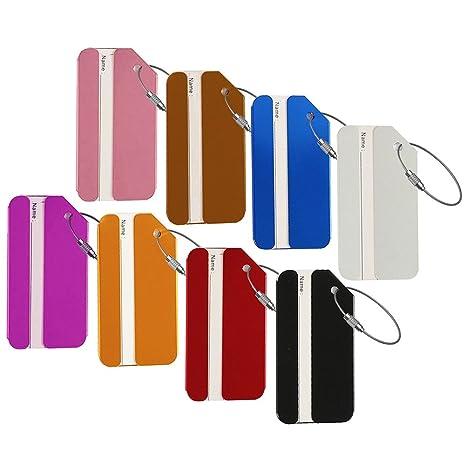 Etiquetas de equipaje, etiqueta de aluminio Metal bolsa de viaje ID identificador etiquetas etiqueta para