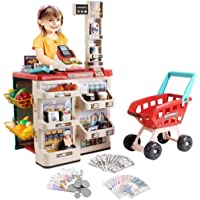 deAO Supermarket Playset for Kids Grocery Store Pretend Play Kids Role Market Stall Toy Shop with Shopping Trolley Cart…