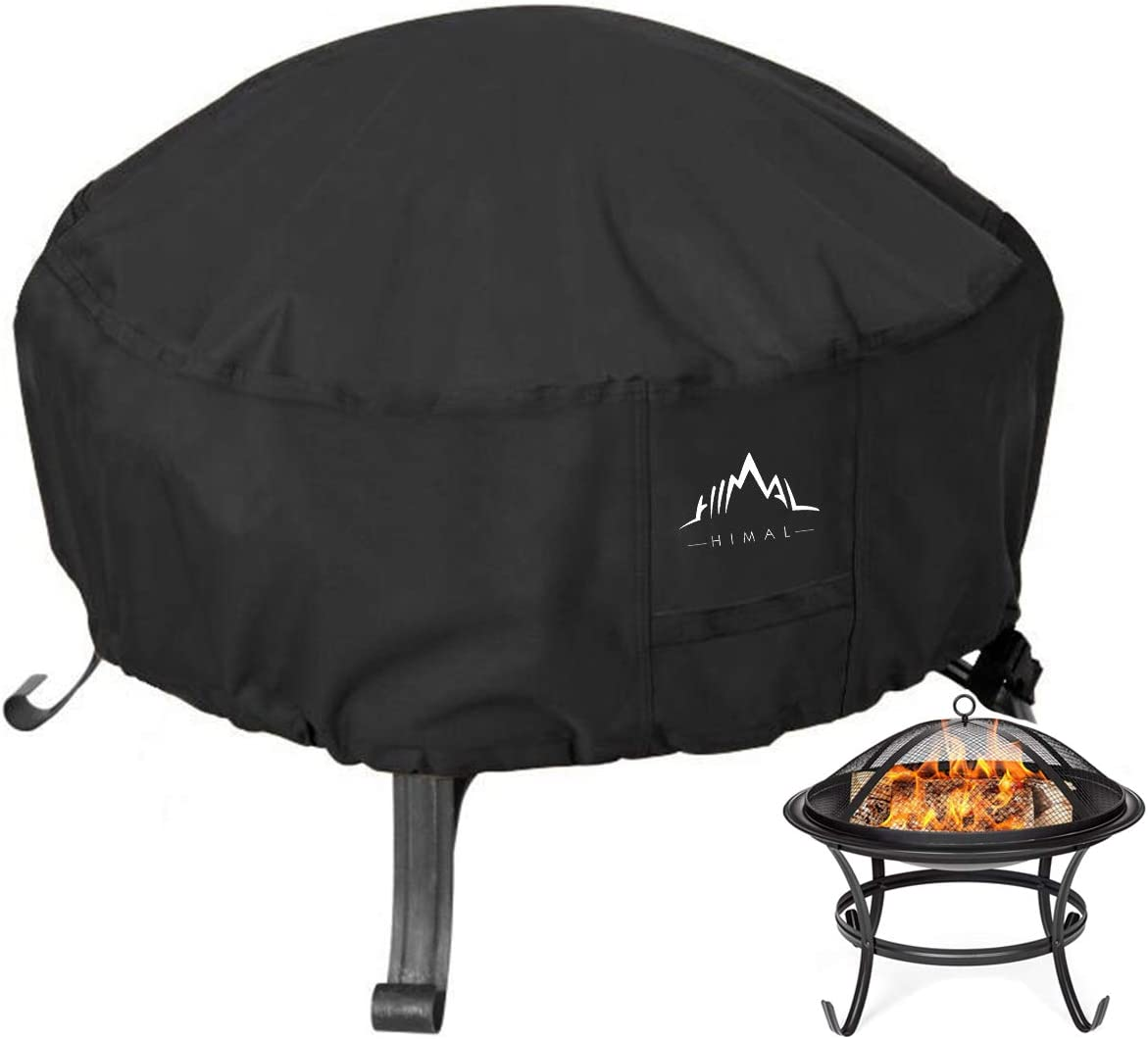 Himal Outdoors Fire Pit Cover- Heavy Duty Waterproof 600D Polyster with Thick PVC Coating, Round Fire Pit Cover, Waterproof, 36 Inch, Black