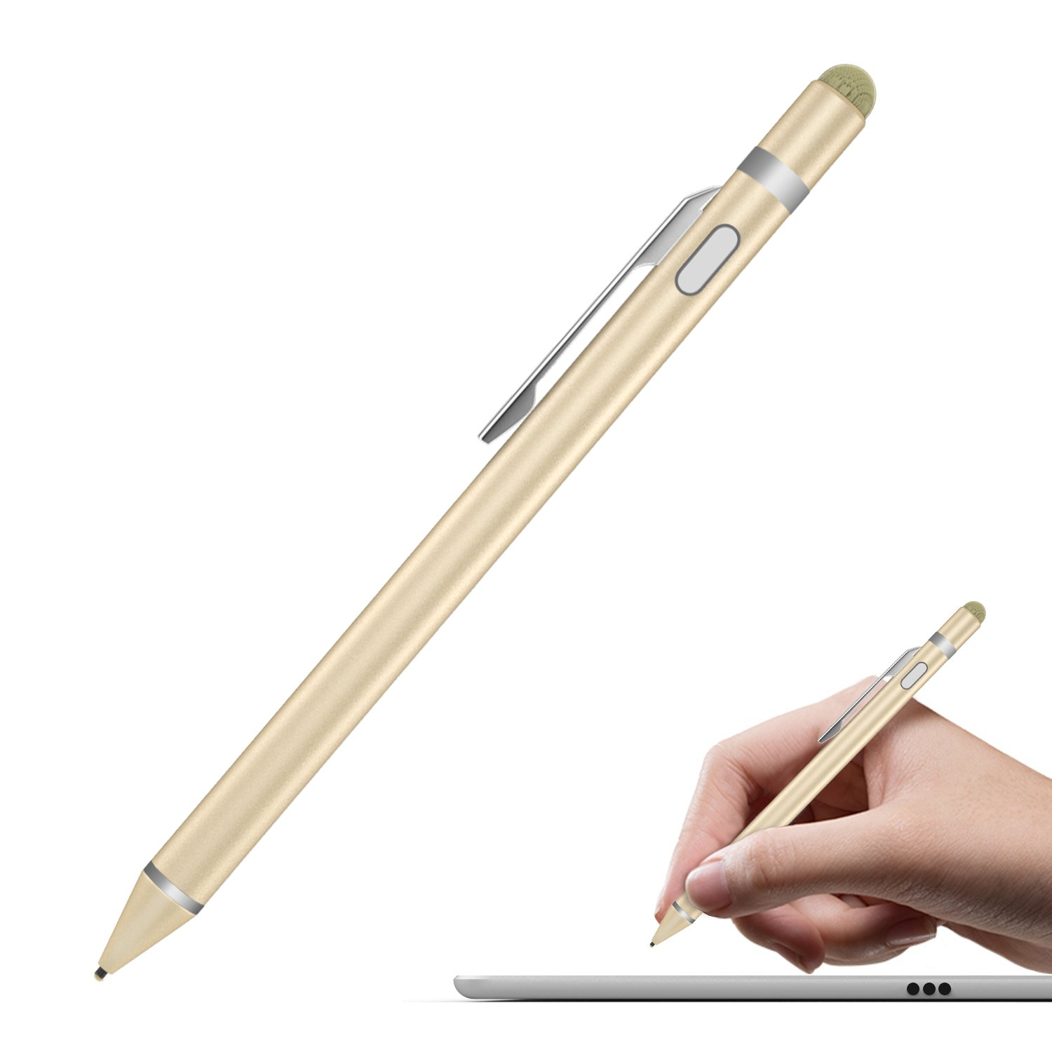 MoKo Universal Active Stylus, 2 in 1 High Precision Sensitivity 1.5mm Capacitive Pen for Touch Screen Devices Smartphones & Tablets (iPad,iPhone Xs/XS Max/XR/X/8/8 Plus,Samsung) - Rose Gold