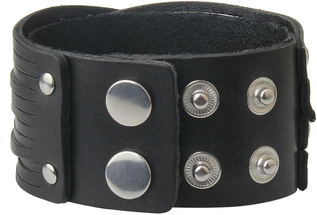 Dark brown Bison leather customize cuff plain Men bracelet wristband 3//4  wide