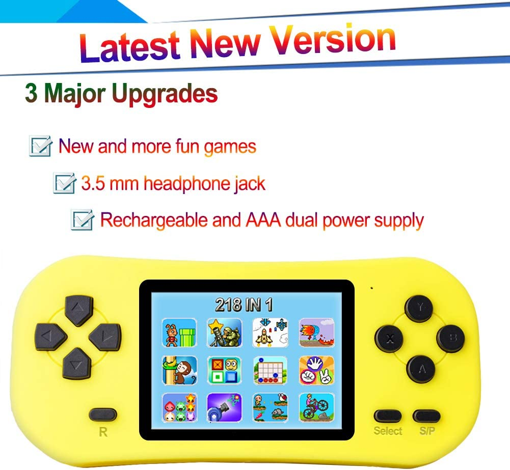 Douddy Kids Retro Handheld Game Console Built in 218 Old School Video Games 2.5 Display USB Rechargeable 3.5 MM Headphone Jack Arcade Entertain System Children Birthday Blue