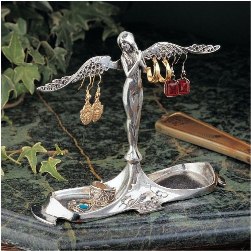 6'' Art Nouveau Italian Angel Decorative Pewter Jewelry Holder Organizer Stand...