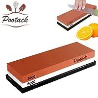 Cote affilacoltelli, Pootack Pietra per affilare Combinazione affilacoltelli professionale con portagomma - Resistente alla corrosione e calore - 18x 6 x 3cm