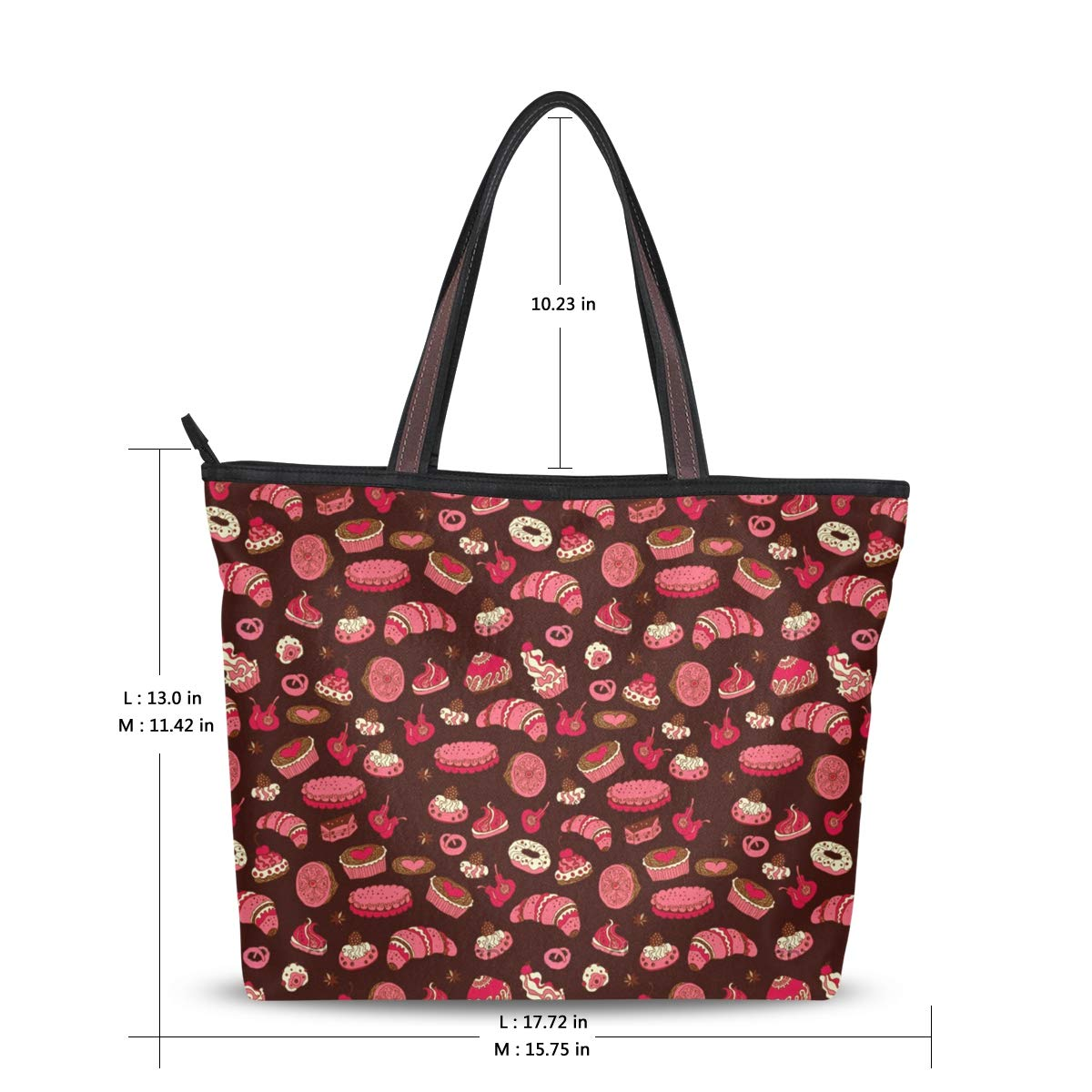 Women Pastries Pattern Large Tote Bag Shoulder Bag Lightweight For Gym Hiking Picnic Travel Beach Waterproof Handbag