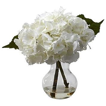 Amazon Blooming White Hydrangea With Vase Silk Flower