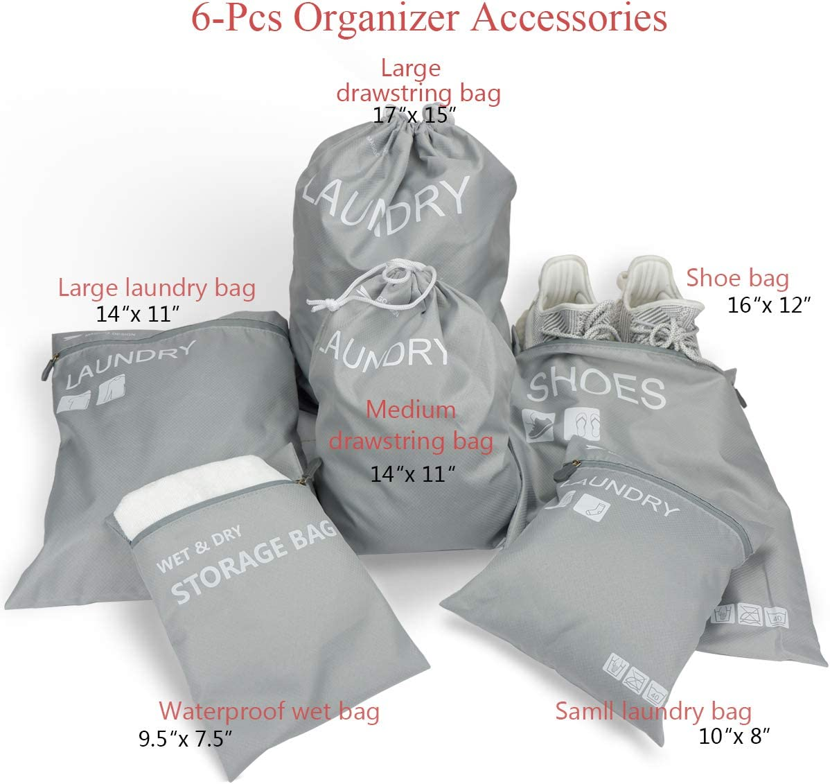 Dirty Laundry Bags MAGIGO 10 Set Luggage Organizers for Travel with Packing Cubes Shoes Bag and Wet//Dry Storage Bag