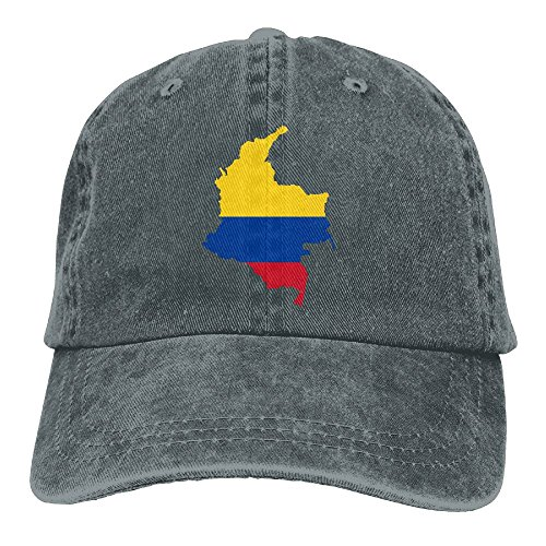 NO4LRM Men's Women's Flag Map Of Colombia Cotton Adjustable Peaked Baseball Dyed Cap Adult Washed Cowboy Hat ()