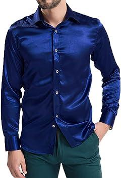 SODIAL Ropa de Hombre de Ocio Camisas de Manga Larga de Seda de emulacion de Alto Grado Camisa Informal de Hombre Brillante Saten Azul Marino 4XL: Amazon.es: Deportes y aire libre