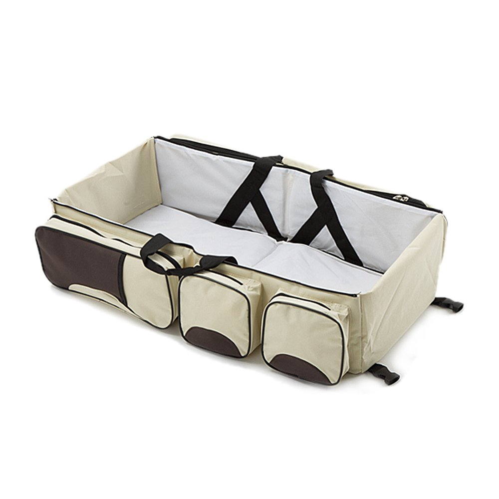 Yoolove 3 in 1 Portable Diaper Bag,Travel Bed,Travel Bassinet,Foldable Changing Station,Baby Travel Crib with Storage Pockets (creamy-white) by Yoolove (Image #3)