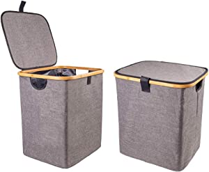 Encozy Sturdy Bamboo Laundry Hamper,Waterproof Laundry Basket,Foldable Oxford Cloth Hamper with lid(Darkgray)