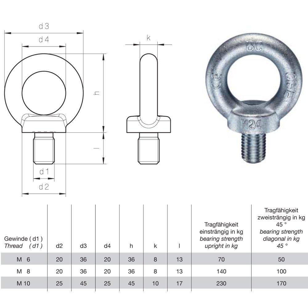 Ringschraube M8 DIN 580 C15E 5 St/ück /Ösenschraube Eisen Roh Dunkelgrau Traglast 140kg