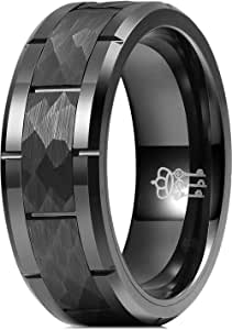 Three Keys Jewelry Nature Tungsten Carbide Mens Hammered Wedding Band Ring Polish for Men Inlay Engrave Engagement Black Size 10.5N