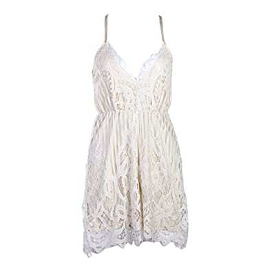 47d201a03d17 Broadroot Summer Women Sexy White Lace Deep V-Neck Romper Halter Straps  Jumpsuit  Amazon.co.uk  Clothing