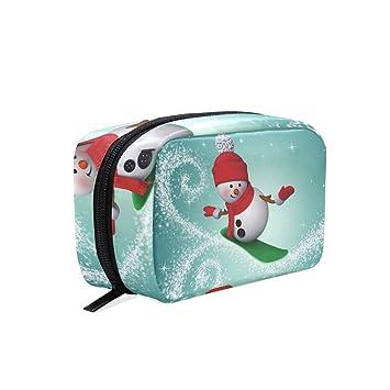 76f16f24ca8b Amazon.com : Toiletry Bag Slide Snowman Cosmetic Bag Portable Makeup ...