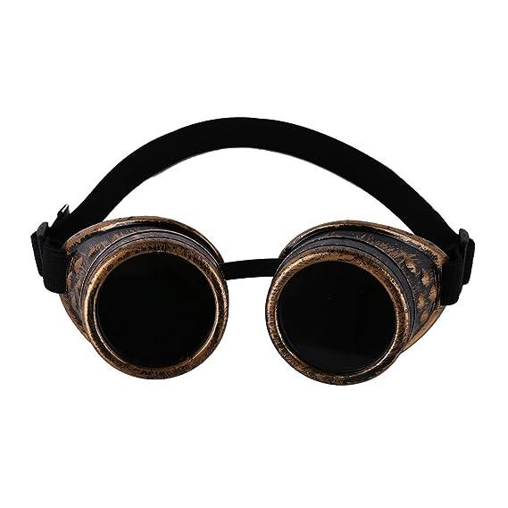 Steampunk Cyber gafas De Sol de soldadura Vintage Victorian gafas Cosplay Gótico Goth Rústico Redondo Rave Baño Brass Talla Única: Amazon.es: Ropa y ...