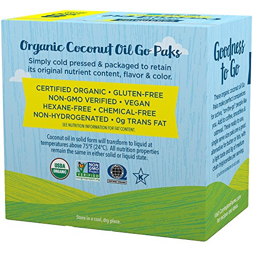 Carrington Farms Gluten Free, Unrefined, Cold Pressed, Virgin Organic Coconut Oil, 8 Packets (Pack of 6), Coconut Oil For Skin & Hair Care, Cooking, & Smoothies by Carrington Farms (Image #1)