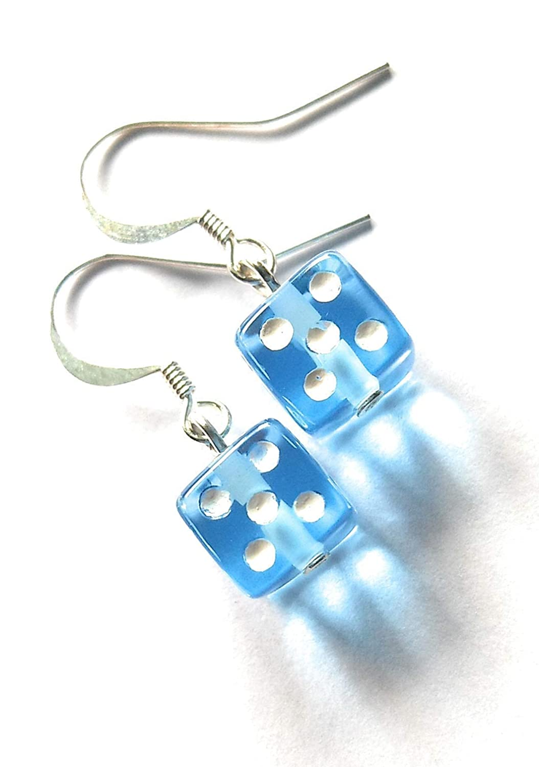 Dice Earrings Blue and White Lucky Dice