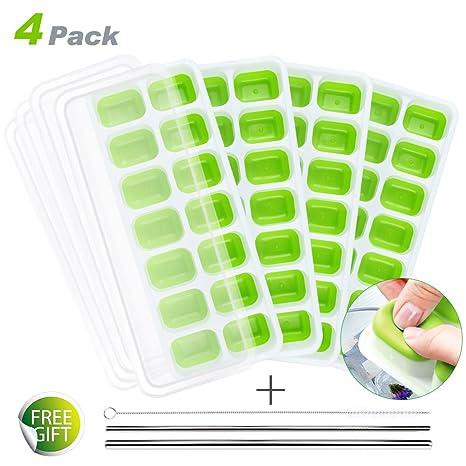 Homecube Paquete de 4 Bandejas de Cubitos de Hielo, Moldes de Silicona 14 con Tapa