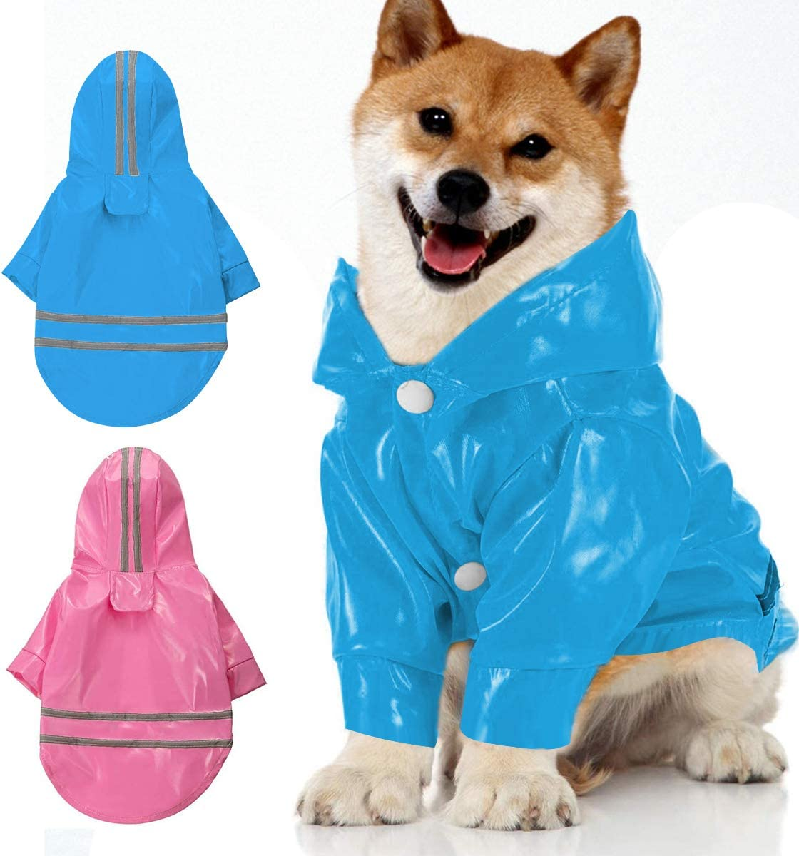 Vockvic 2 Piezas Chubasqueros para Perro, Cachorro de Lluvia para Mascotas al Aire Libre con Capucha Chaquetas Impermeables PU Impermeable Reflectante para Perros Gatos Ropa(Azul, Rojo)