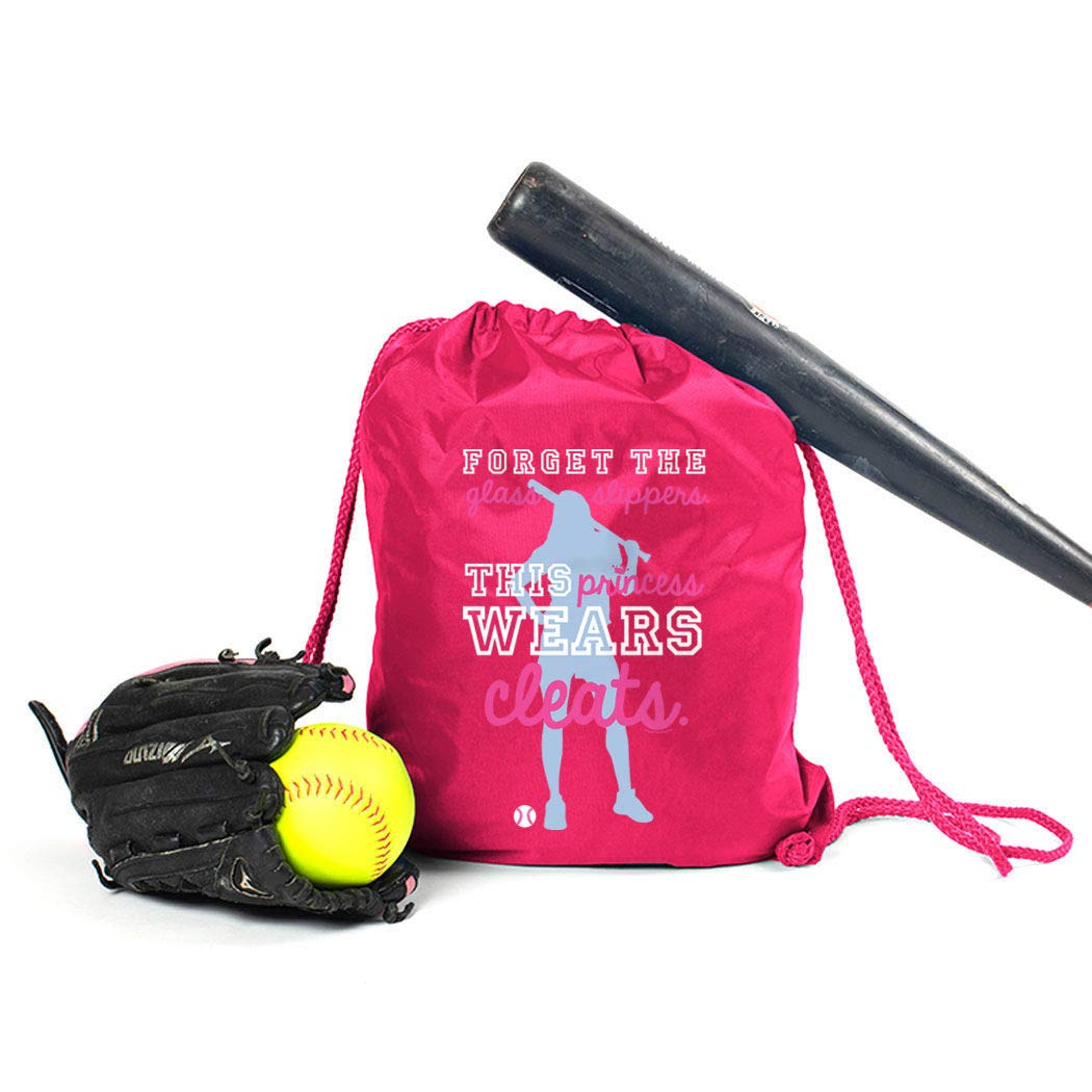 This Princess Wears Cleats ChalkTalkSPORTS Softball Sport Pack Cinch Sack Black